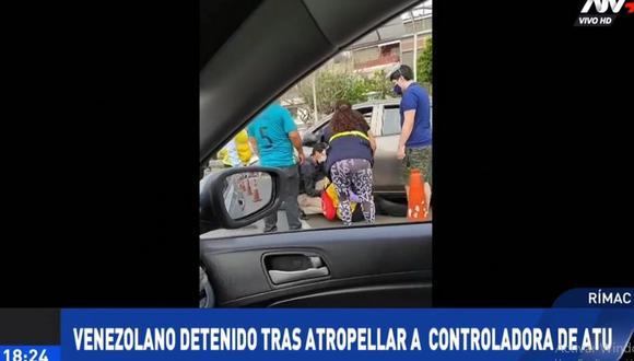 El sujeto intentó fugarse tras atropellar a la controladora de vía de la ATU. (Foto: ATV+)