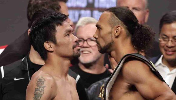 Manny Pacquiao vs. Keith Thurman una pelea que arrancó con un pesaje polémica. (Foto: AFP)