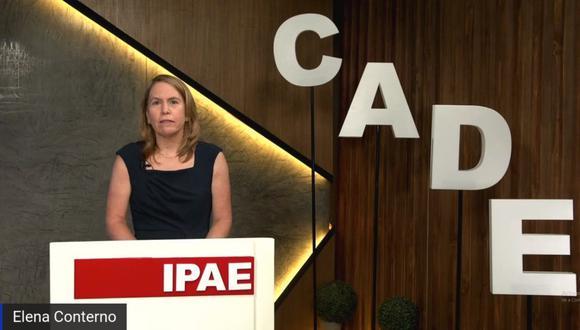 """""""Esperamos que muchos más se unan a impulsar los retos que se han visto en este CADE"""", dijo Elena Conterno, presidenta de IPAE. (Foto: Captura)"""