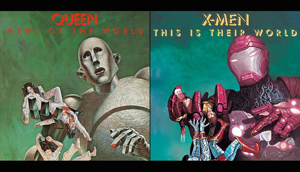X-Men Gold #11  de Mike del Mundo, homenajea la portada 'News Of The World' de Queen (Marvel)
