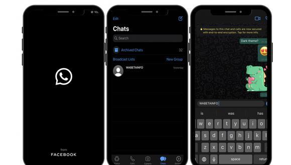 """¡Ya es posible tener el """"modo oscuro"""" de WhatsApp! Función llega a todos los celulares del mundo. (Foto: WhatsApp)"""