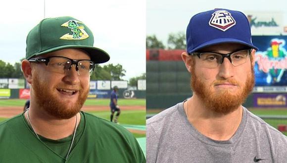 Dos beisbolistas de las ligas menores de Estados Unidos sorprendieron a las redes sociales con su increíble parecido que hizo creer a más de uno que eran gemelos separados al nacer. (Foto: Inside Edition en YouTube)
