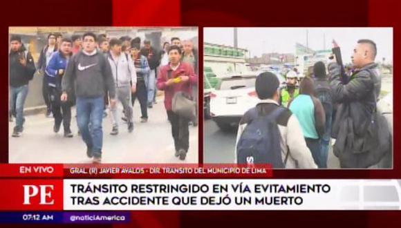 Peatones grabaron accidente en la Vía de Evitamiento. (Foto: América Noticias)
