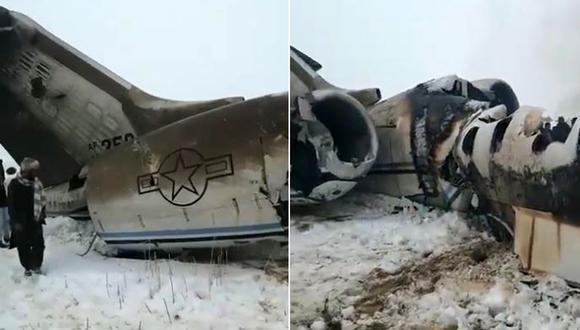 Avión militar de Estados Unidos fue derribado en Afganistán por talibanes, según portavoz talibán. (Foto: captura de video)
