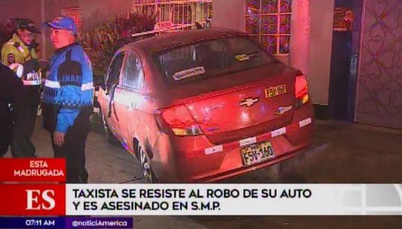 Matan taxista en SMP. (Foto: Captura de video / América Noticias)