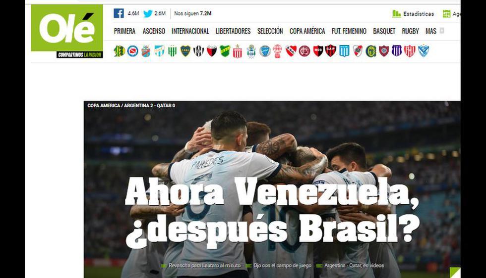 La reacción de los medios internacionales tras la victoria de Argentina sobre Qatar y clasificación a cuartos de final de la Copa América 2019.