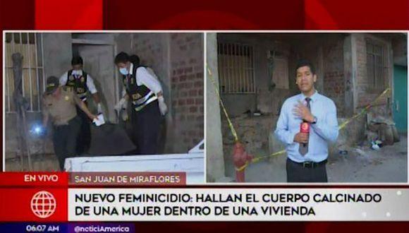 El cuerpo de una mujer carbonizado fue hallado al interior de una vivienda ubicada en el pasaje Yauyos de Pamplona Alta (Captura: América Noticias)