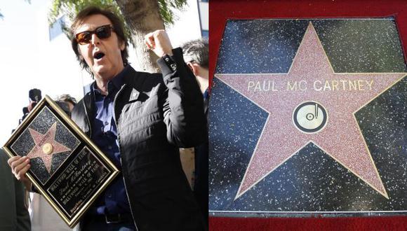 McCartney recibió la estrella número 2,460 y agradeció a sus compañeros de The Beatles. (Reuters)