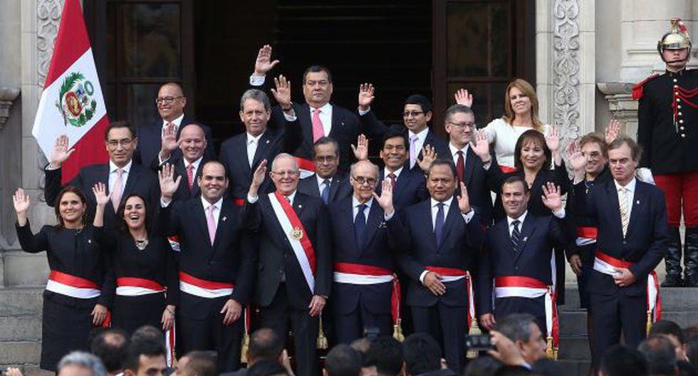 El Presidente de la República y su gabinete ministerial. (Difusión)