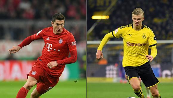 Lewandowski y Haaland comandan los ataques de Bayern y Dortmund, respectivamente. (Foto: AFP)