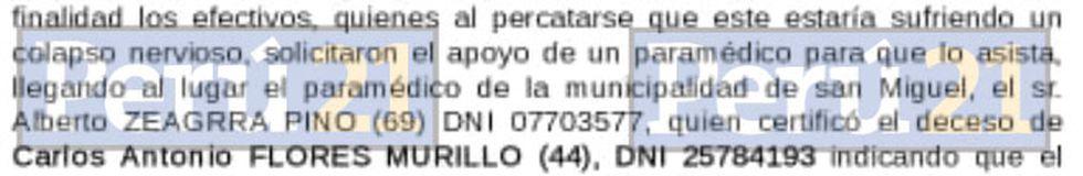 Parte policial de Carlos 'Kukín' Flores.