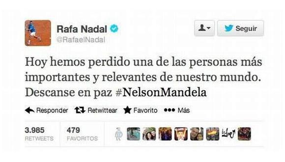 Mensaje fue eliminado poco después de publicado. (Imagen: @RafaelNadal)