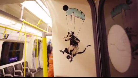 Banksy dibuja en el metro de Londres para impulsar el uso de la mascarilla (Foto: Instagram @Banksy)