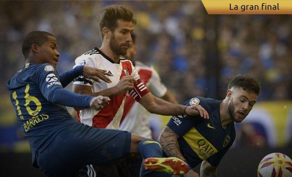 Boca Juniors vs. River Plate chocan en La Bombonera por la final de la Copa Libertadores. (Foto: Conmebol)