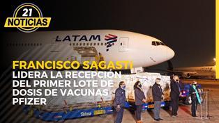 Francisco Sagasti recibe el primer lote de vacunas donadas por el gobierno de Joe Biden