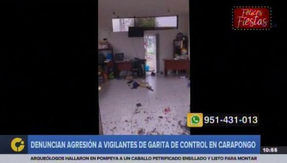 Vigilantes de garita de control en Carapongo sufren agresión. (Captura: RPP Noticias)