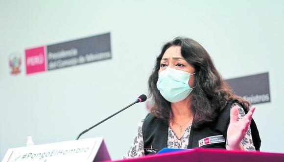 Defiende vacunación. Violeta Bermúdez sostuvo que opositores buscan desprestigiar inoculación. (Foto: PCM)