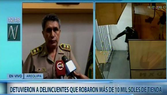 PNP detiene a delincuentes que a balazos robaron S/ 10 mil de tienda (Captura: Canal N)