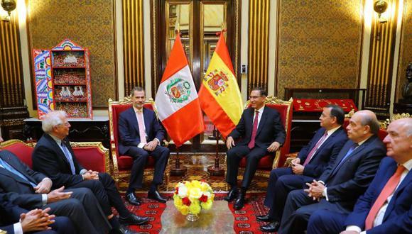 El presidente Martín Vizcarra recibió al rey de España, Felipe VI, en el Palacio de Gobierno. (Foto: Presidencia Perú)