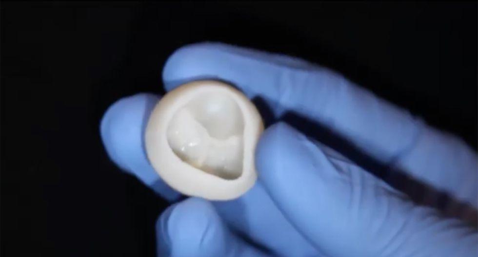 Una válvula cardíaca funcional que un equipo de científicos estadounidenses ha construido con colágeno utilizando una bioimpresora 3D. (Foto: AFP)