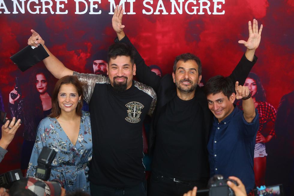 Los actores Melania Urbina, Aldo Miyashiro, Giovanni Ciccia y Emanuel Soriano (Créditos: Geraldo Caso)
