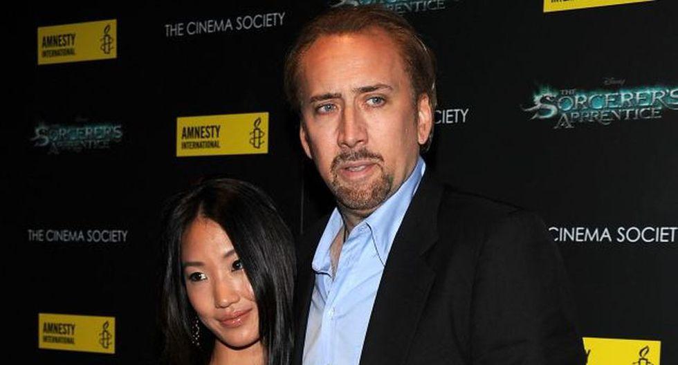 Nicolas Cage y Alicia Kim. El actor le lleva 20 años a su joven esposa. Cage tiene 48 años, mientras Alicia, 28. (Agencias)