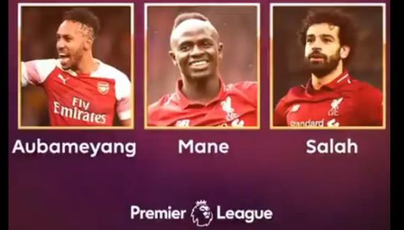 Salah, Aubameyang y Mané se llevaron la Bota de Oro de la Premier League. (Foto: Premier League)