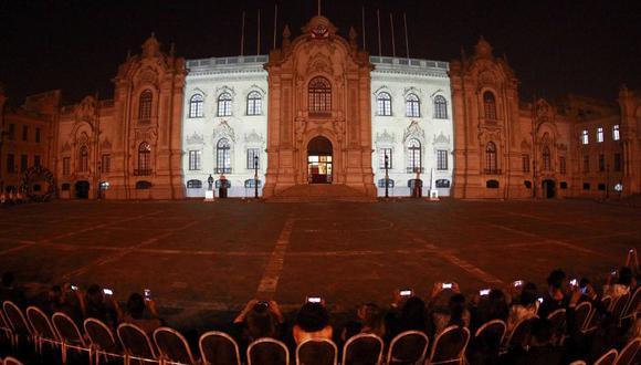'Celebra Perú', el espectáculo de luz y color que se brinda en el frontis de Palacio de Gobierno por Navidad. (Presidencia Perú)