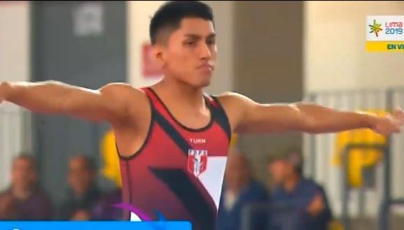 Gimnasta Miguel Valencia representó por primera vez a nuestro país en la categoría salto en trampolín. (Captura)