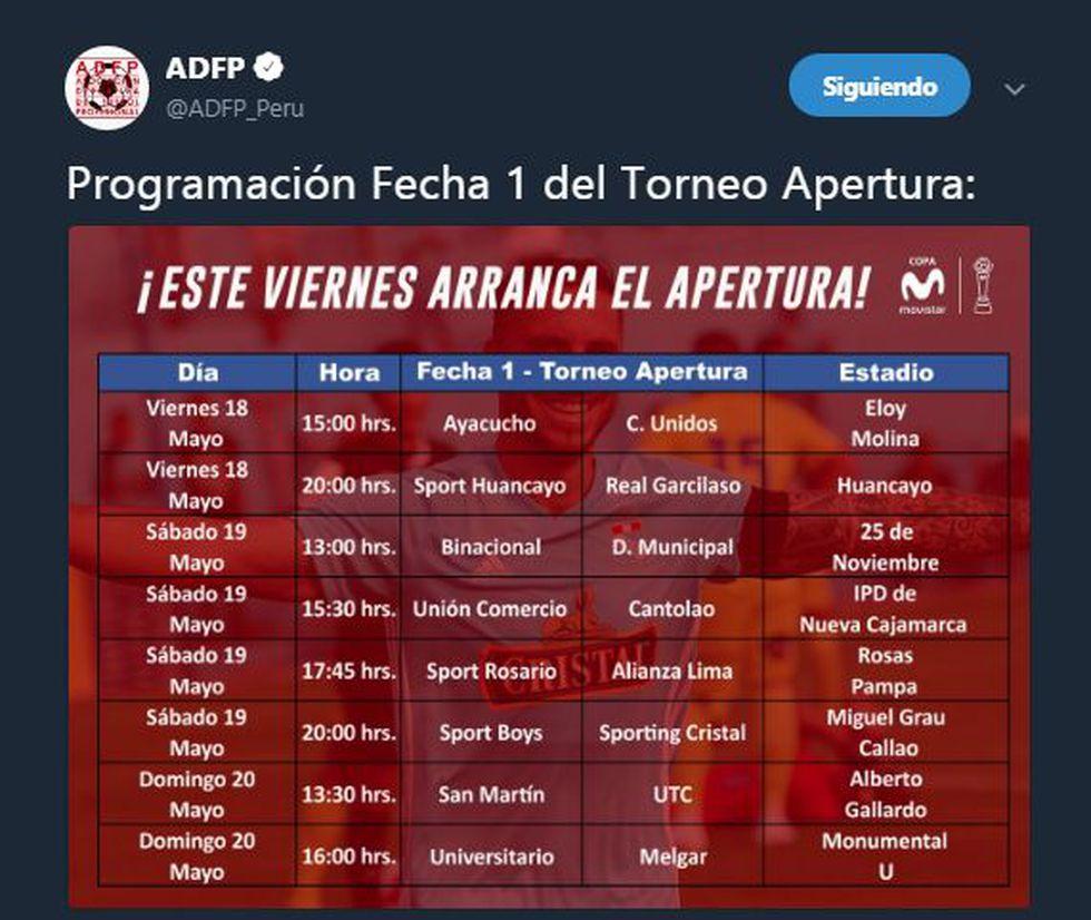 Fecha 1 - Torneo Apertura. (ADFP)