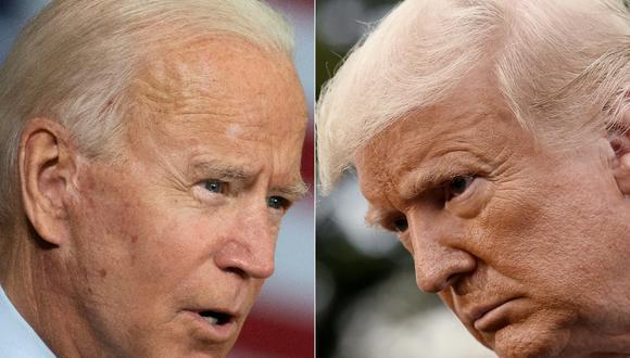 """Joe Biden y Donald Trump """"se enfrentan"""" a distancia y por televisión. (Foto: JIM WATSON, Olivier DOULIERY / AFP)"""