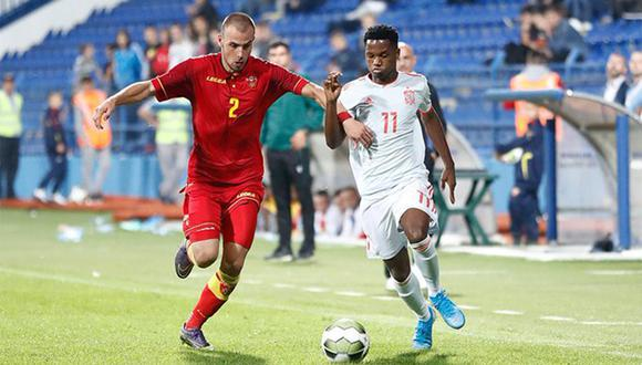 Ansu Fati ingresó a los 80' en lugar de Marc Cucurella. (Foto: @SeFutbol)