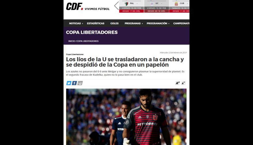 Así informaron los medios chilenos sobre la eliminación de Universidad de Chile y clasificación de Melgar en Copa Libertadores. (Captura: CDF)