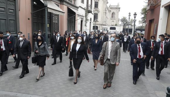 Gabinete ministerial llega al Congreso. (GEC)