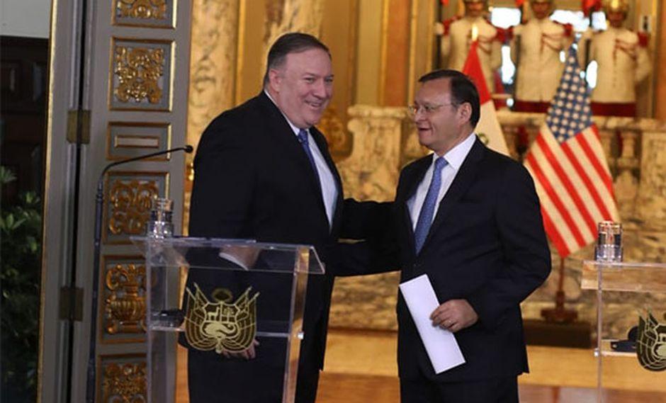 Mike Pompeo brindó una conferencia de prensa junto a su par peruano, Néstor Popolizio, luego de reunirse con el presidente Martín Vizcarra. (Foto: Juan Ponce / GEC)