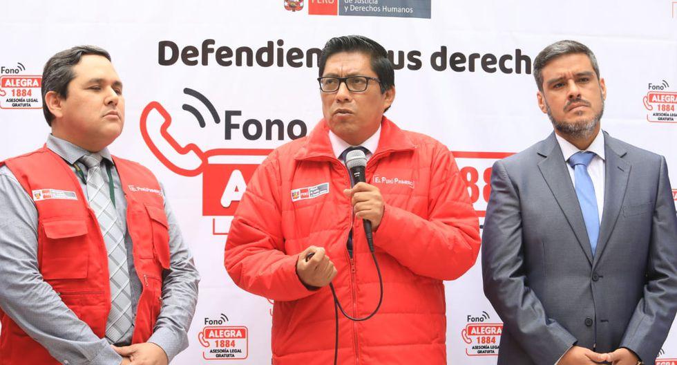 Ministro Vicente Zeballos anunció la implementación de la línea pública 'Fono Alegra 1884' para orientar a personas de bajos recursos económicos.