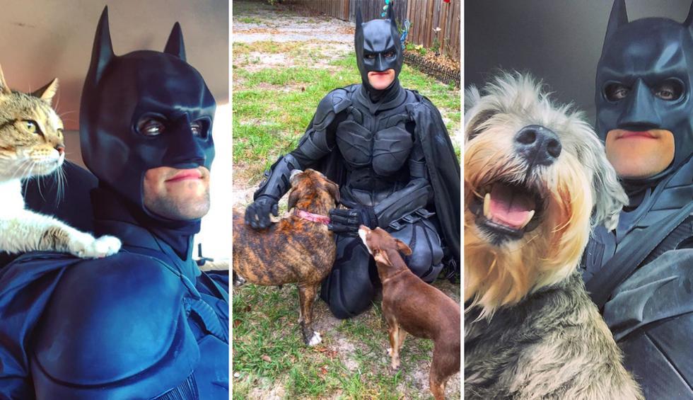 Un amante de los animales usa su pasión por los superhéroes para realizar buenas acciones. (Fotos: @batman4paws en Instagram)