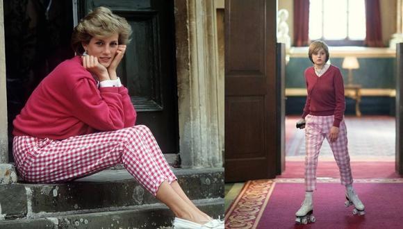 En otros looks casuales, también se imitó la combinación de pantalones vichy rosadas con chompa magenta de la princesa, pero en la escena mostrada por Netflix, la actriz Emma Corrin luce patines blancos. (Fotos: IG/ @youronlyprincessdiana, @thecrownnetflix)