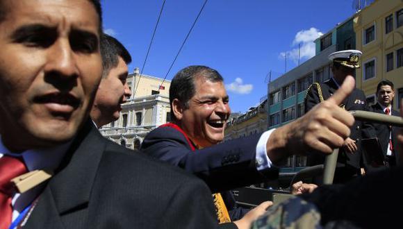 Proselitismo. Correa inició su campaña en el sur de Quito. (AP)