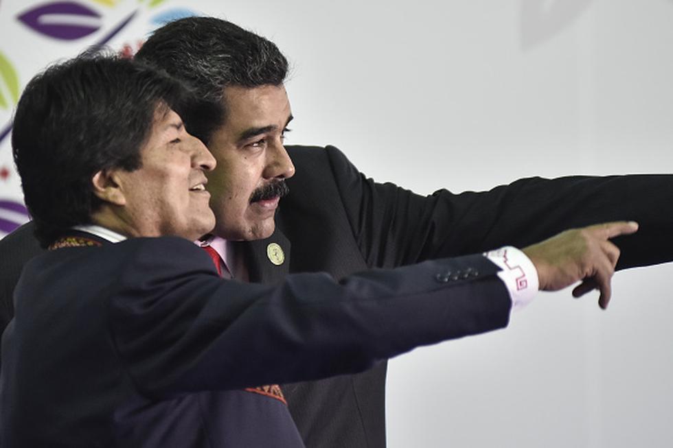 """""""Nuestra solidaridad con el pueblo venezolano y el hermano Nicolás Maduro, en estas horas decisivas en que las garras del imperialismo"""", señaló Evo Morales. (Getty)"""