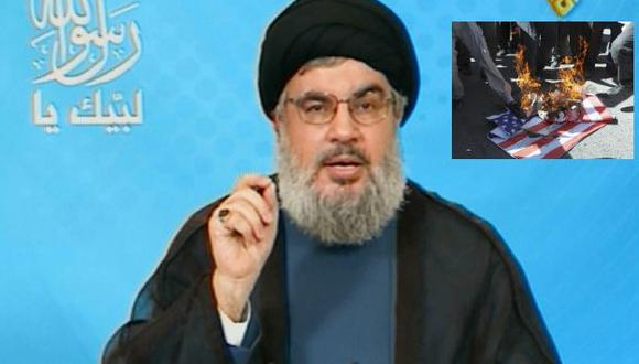 Líder Hasán Nasralá dijo que expresar rabia frente a las embajadas no es suficiente. (Manar TV/AP)