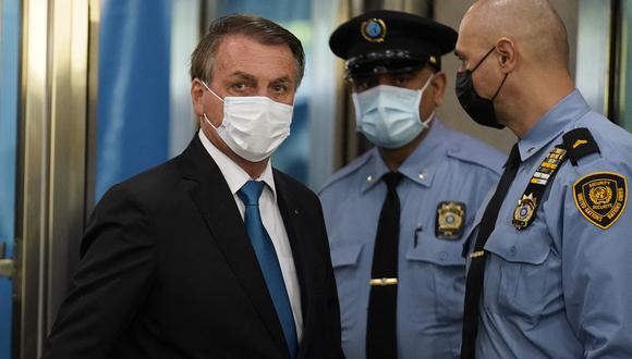 Jair Bolsonaro llega a la sede de las Naciones Unidas, el 21 de septiembre de 2021. (Foto: John Minchillo / POOL / AFP)
