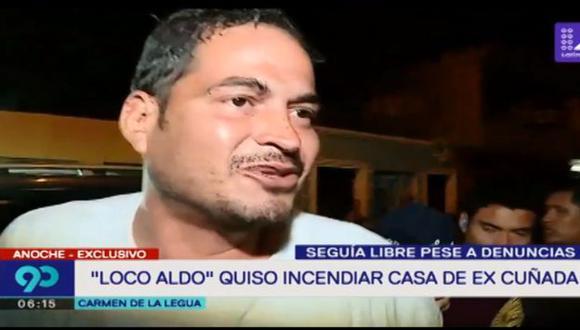 Ayer por la noche, Aldo Valle, conocido como el 'Loco Aldo' fue capturado por la Policía Nacional (PNP) tras ser acusado de intentar incendiar la casa de su ex cuñada. (Foto: Latina)