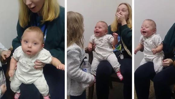Bebé estalló de risa al escuchar a su madre y hermana por primera vez gracias a la ayuda de un audífono. (Foto: Carol Dianne Benjamin en Facebook)