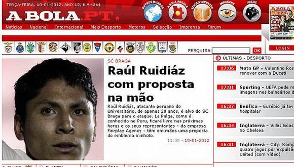 Así informa la prensa portuguesa del interés por el crema. (A Bola)