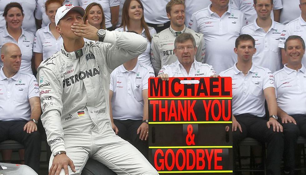 Michael Schumacher se despidió de la Fórmul Uno en el GP de Interlagos, en Brasil. (Reuters)