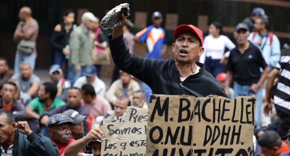 Venezolanos protestan en busca de llamar la atención de Bachelet. (Foto: EFE)