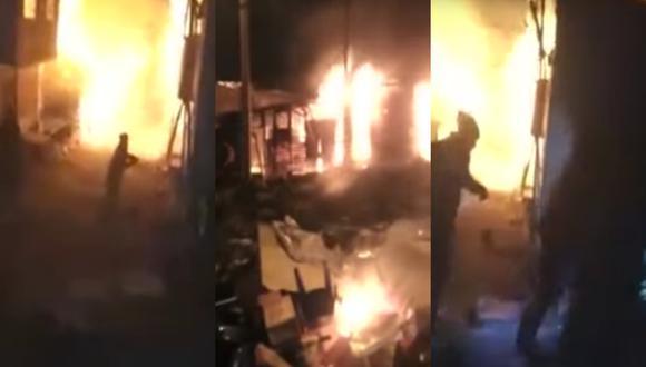 Tragedia en Puno: Vecinos incendian siete cantinas en 'protesta' por muerte de un hombre  (Foto: captura vídeo)