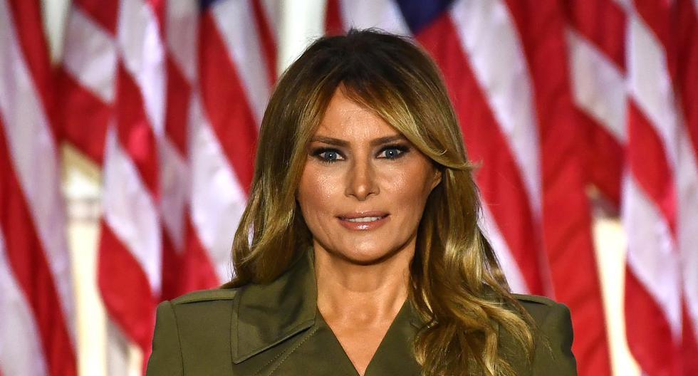 La primera dama de Estados Unidos, Melania Trump, es vista pronunciando un discurso en Washington. (Brendan Smialowski / AFP).