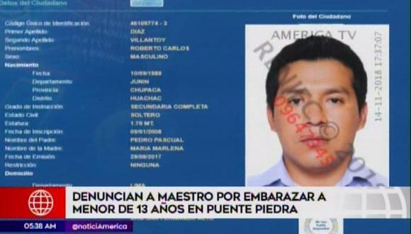 Roberto Carlos Días Villantoy es el presunto agresor. (Foto: Captura/América Noticias)